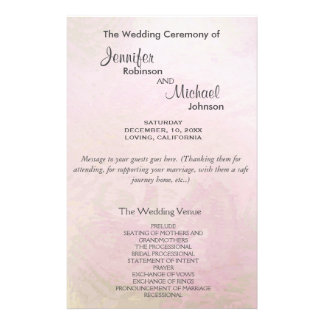 Programma | van het huwelijk Roze Parel Flyer 14 X 21,6 Cm