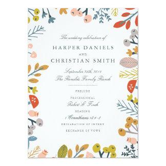 Programma van het Huwelijk van de herfst het 13,9x19,1 Uitnodiging Kaart