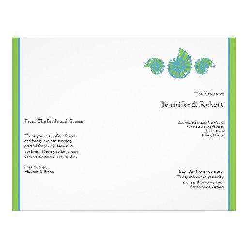 Programma van het Huwelijk van de Zeeschelp van he Gepersonaliseerde Folder