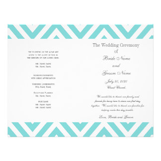 Programma van het Huwelijk van het blauwgroen Patr Flyer 21,6 X 27,9 Cm