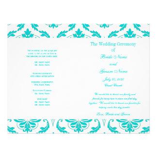 Programma van het Huwelijk van het Damast van Aqua Flyer 21,6 X 27,9 Cm