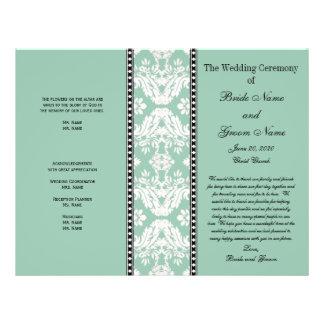Programma van het Huwelijk van het Damast van de m Flyer 21,6 X 27,9 Cm