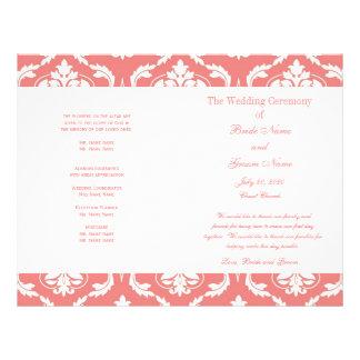 Programma van het Huwelijk van het Damast van het  Flyer 21,6 X 27,9 Cm