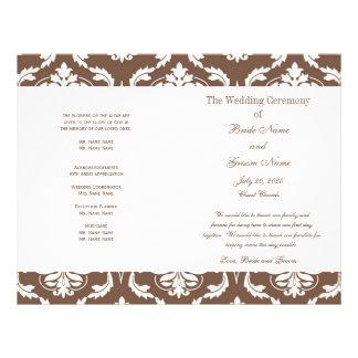 Programma van het Huwelijk van het Damast van Taup Flyer 21,6 X 27,9 Cm