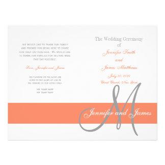 Programma | van het Huwelijk van het koraal Grijs  Flyer 21,6 X 27,9 Cm