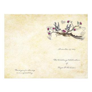 Programma van het Huwelijk van vintage Vogels het Flyer 21,6 X 27,9 Cm