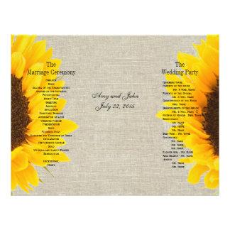 Programma van het Huwelijk van Zonnebloem het Flyer 21,6 X 27,9 Cm