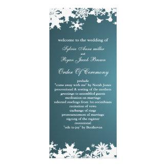 programme bleu de mariage d'hiver de flocons de modèle de carte double