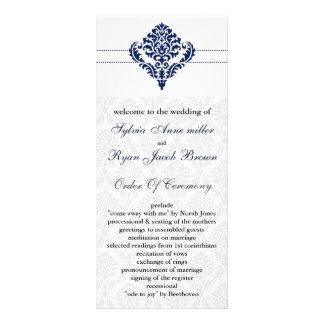 """programme de mariage damassé """"de bleu marine"""" doubles cartes"""
