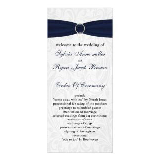 """programme de mariage de """"bleu marine"""" de damassé modèle de carte double"""