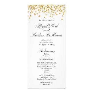 Programme de mariage de confettis d'étincelle d'or double carte en  couleur