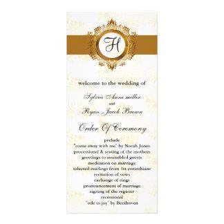 programme de mariage de monogramme d'or modèle de carte double