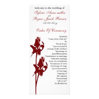 programme de mariage de rose rouge cartes doubles