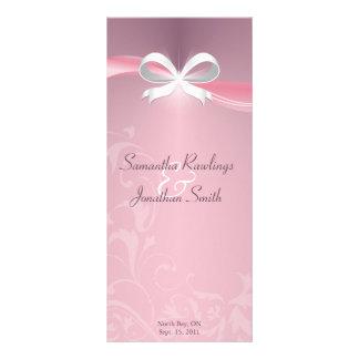 Programme de mariage - ruban floral de satin rose modèle de double carte