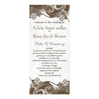 Programme de papier de mariage de brun d'effet de cartes doubles customisables
