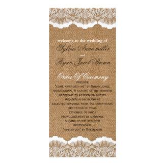 Programme de toile de jute de FAUX et de mariage Motif Pour Double Carte