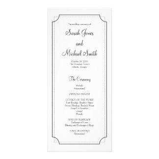 Programme élégant de mariage de cadre carte double customisable