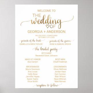 Programme élégant simple de mariage de poster