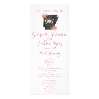 Programme floral de mariage d'aquarelle d'état de carton d'invitation  10,16 cm x 23,49 cm
