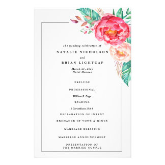 Programme floral de mariage de monogramme tropical prospectus 14 cm x 21,6 cm