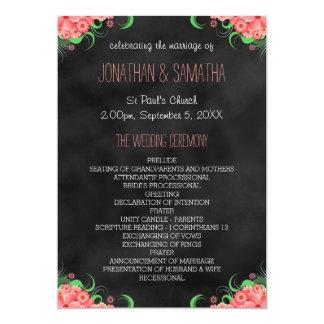 Programme floral de mariage de rose noir de carton d'invitation  12,7 cm x 17,78 cm