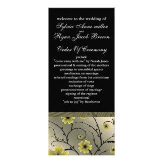 programme floral jaune et noir en ivoire de modèle de carte double