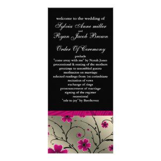programme floral rose et noir en ivoire de mariage double carte
