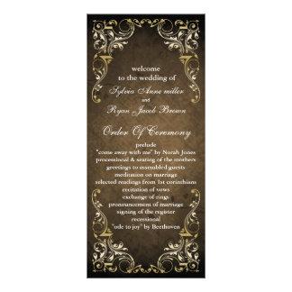 programme majestueux brun rustique de mariage carte double customisable