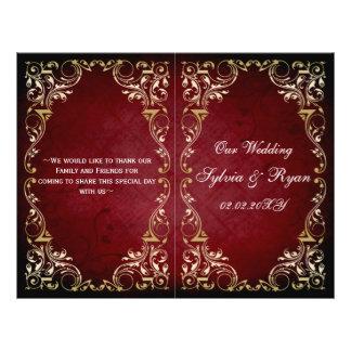 Programme majestueux de mariage de bookfold d'or tract personnalisé