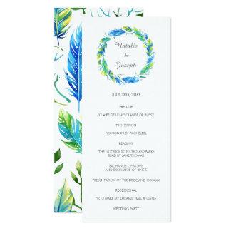 Programme moderne lumineux de mariage de Boho | Carton D'invitation 10,16 Cm X 23,49 Cm