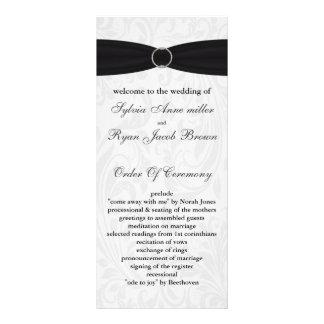 programme noir de mariage de damassé cartes doubles customisables
