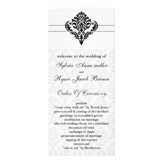 """programme """"noir et blanc"""" de mariage damassé double cartes customisées"""