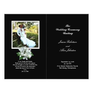 Programme noir et blanc de mariage de photo plié prospectus 21,6 cm x 24,94 cm