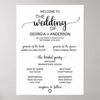 Programme noir et blanc simple de mariage de poster