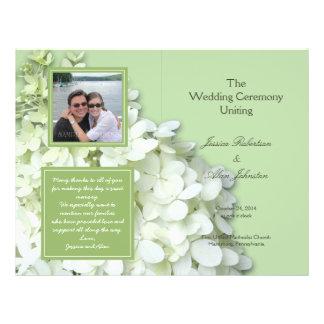 Programme plié par photo de mariage d'hortensia prospectus 21,6 cm x 24,94 cm