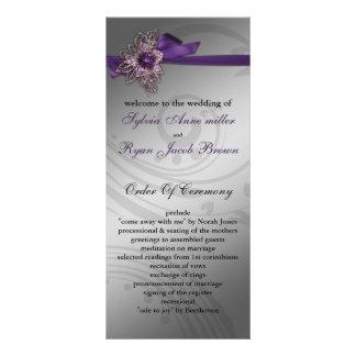 Programme pourpre de mariage de ruban de FAUX Doubles Cartes