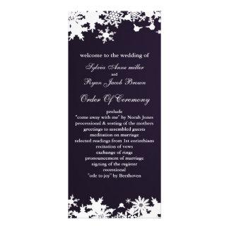 programme pourpre de mariage d'hiver de flocons de double carte en  couleur