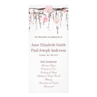Programme rose de mariage de branches florales