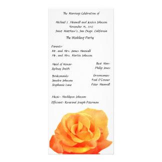 Programme rose de mariage d'orange carte double customisable