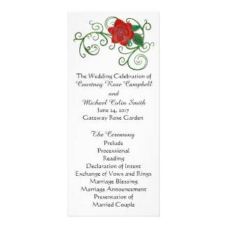 Programme rose élégant de mariage carte double en  couleur