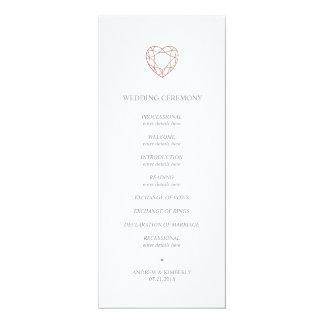 Programme rose élégant de mariage de coeur d'or