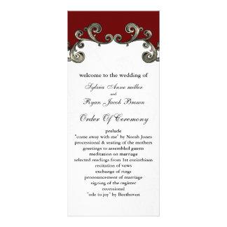 programme rouge de mariage double carte personnalisée