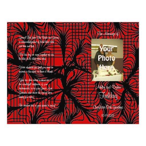 Programme rouge et noir de mariage de photo de toi prospectus en couleur