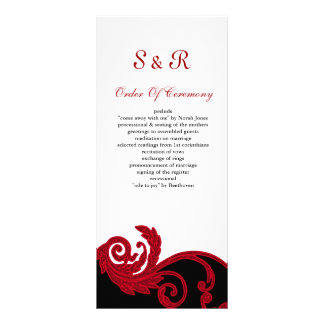 programme rouge et noir et blanc de mariage cartons d'informations  10 cm x 22,9 cm