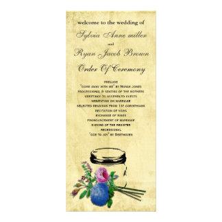 programme rustique vintage de mariage de pot de carte double en  couleur