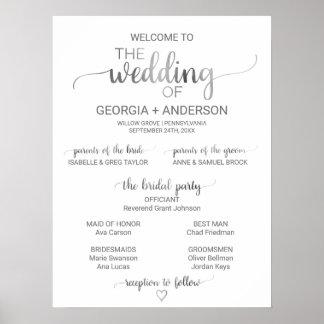 Programme simple de mariage de calligraphie poster