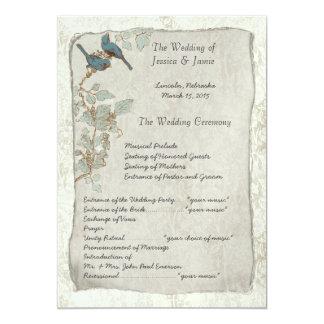 Programme turquoise vintage de mariage damassé
