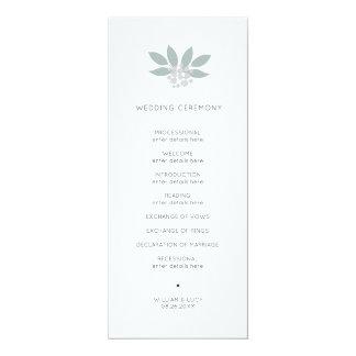 Programme vert de mariage de foilage carton d'invitation  10,16 cm x 23,49 cm