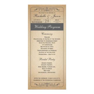 Programme vintage de billet de mariage double carte