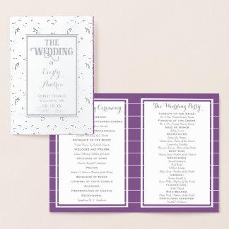 Carte Dorée PROGRAMME vintage de mariage damassé d'aluminium